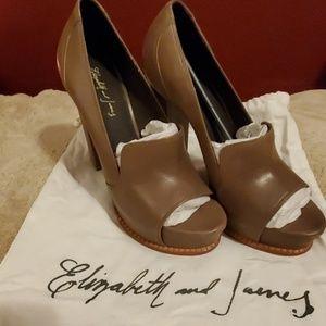 Elizabeth & James Peep Toe Leather Heel Never Worn